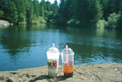 Bubble tea at the lake. Perfect.