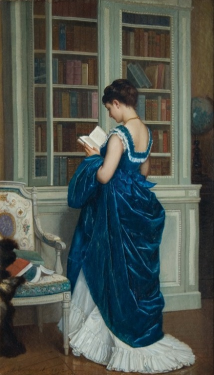 books0977:  Dans la Bibliotheque (1872). Auguste Toulmouche (French, 1829-1890). Oil on canvas.  Toulmouche specialized in paintings depicting beautiful women within interior scenes (Directoire/Costume paintings). He first exhibited in the Salon of 1848. At the height of his career, Costume painting came into the forefront. Patrons reveled in depictions of sentimental, romantic daily life. Success depended on the expressiveness of the characters, a quality directly derived from history painting.