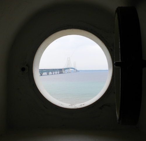 A view from a small lighthouse window.