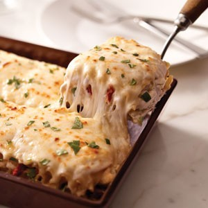 oooeygooeygoodness:  Chicken Lasagna Ingredients:2 cups shredded cooked chicken breasts 1 can (14 oz.) artichoke hearts, drained, chopped 1 pkg. (8 oz) Shredded Mozzarella Cheese, divided1/2 cup Grated Parmesan Cheese 1/2 cup chopped drained oil-packed sun-dried tomatoes 2 pkg. (8 oz. each) cream cheese, softened 1 cup milk 1/2 tsp. garlic powder 1/4 cup tightly packed fresh basil, chopped, divided 12 lasagna noodles, cooked Directions:Preheat oven to 350°F.Combine chicken, artichokes, 1 cup mozzarella, Parmesan and tomatoes. Beat cream cheese, milk and garlic powder with mixer until well blended; stir in 2 Tbsp. basil. Mix half with the chicken mixture. SPREAD half the remaining cream cheese mixture onto bottom of 13x9-inch baking dish; cover with 3 noodles and 1/3 of the chicken mixture. Repeat layers of noodles and chicken mixture twice. Top with remaining noodles, cream cheese mixture and mozzarella; cover. BAKE 25 min. or until heated through. Sprinkle with remaining basil. Let stand 5 min. before cutting to serve. Source: Mine!!