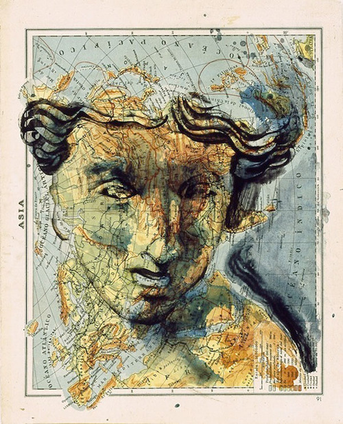 Atlas (Paintings on Maps) by Fernando Vicente