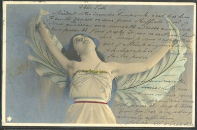 C.1903 Art Nouveau Winged Woman Postcard