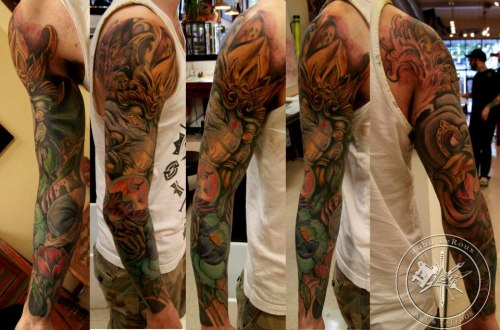 Finally finished. 22 hours. Ganesh's gift to the world sleeve. John E Leroux. Deep Roots Tattoo University District, Seattle, WA Seriously cannot thank this guy enough.