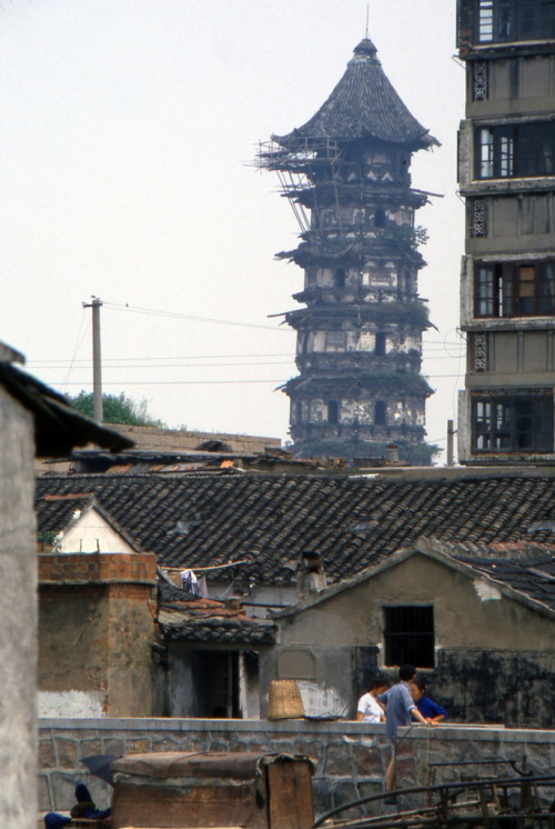 pythias:  bassman5911:  Pagoda in need of repair in Suzhou  Photo by Craig Allen.