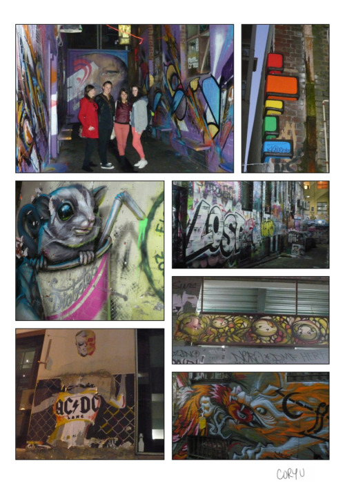 "One thing that makes Melbourne such a colourful & unique place is its graffiti. Laneways such as Hosier & AC/DC make just some of the alleys to tour through & see a whole other world of design. The fun thing is, you could walk down every single day & find new graffiti appear each time. I think it's rumored that Banksy made his mark here too, only for it to be covered up by someone else who didn't realize. My favourites to see we're the rodent/marsupial? (not sure which creature exactly) in the ""diabetes"" soda cup & ""LOST"", since it reminded me once again that the crash in the series LOST all started in Australia. Dun dun dunnn. -Cory U"