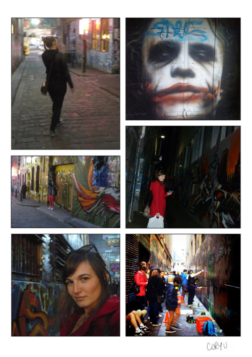 More photos walking down the graffiti laneways. You could really crank your neck trying to spot all the tags & designs. One of the coolest things was walking through a group that looked almost like a class for graffiti artists. They all had their own section, masks, & variety of cans to choose from; they even pyloned the area! I can't think of a city I've been in that doesn't publicly tag their laneways like Melbourne. A week after our main walk down the laneways & closer to the opening of the newest Dark Knight release, we spotted the Joker near Fed Square. I have a feeling since he'd already been tagged by the time we spotted him, he's already painted over & won't be seen there again. -Cory U PS The strangest thing to come across down the laneways was a posting infront of a clean drug facility that was closed up for the day due to a brawl. If you still needed your meth fix, there was a number to call. Somehow I forgot to take of picture of it, but I'll probably always remember the note… Still one of the safest-feeling cities I've ever been in though.