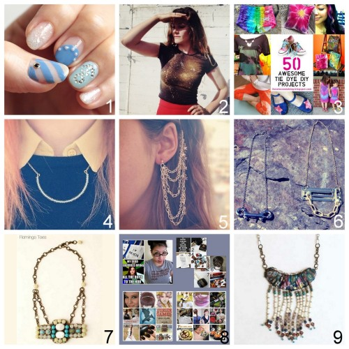 Roundup Nine DIY Jewelry, Accessories and Fashion Tutorials PART FOUR. Roundup of this past week. August 12th - August 18th, 2012. *For past roundups go here: trebluemeandyou.tumblr.com/tagged/roundup DIY Marine Nail Art Tutorial from Small Good Things here. DIY Metallic Galaxy Tee Shirt Tutorial from By Hand London here. DIY Roundup of Fifty Tie Dye Projects from I Love to Create here. DIY Eclipse Necklace Tutorial from Teahab here. DIY Chains and Stars Earrings with Combs Tutorial from Teahab here. DIY Hardware Lock Necklaces Tutorial from Taylor & Demolish here.  DIY Anthropologie Almagest Knockoff Necklace Tutorial from Flamingo Toes here. DIY Roundup of roundups of The Hunger Games' Tutorials here including fashion, food, beauty and jewelry. DIY Anthropologie Luya Bib Knockoff Necklace Tutorial from Flamingo Toes here.
