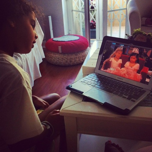 Cutie pie watching Sophia Grace and Rosie on YouTube again! So #cute !  (Taken with Instagram)