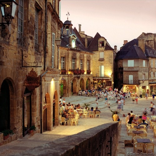| ♕ |  Summer evening at Place de la Liberté - Sarlat, France  | by © Valter Venturelli