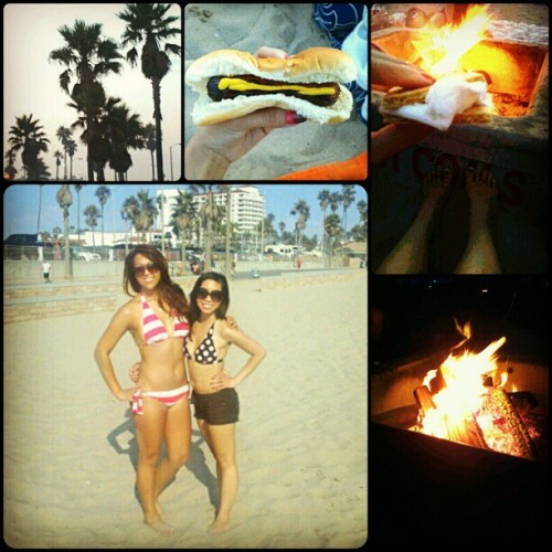 fun day at the beach with @heavilyperfumed & tennis friends !#huntingtonbeach #tower7 #swimming #hotsummerday #beachvolleyball #games #bonfire #hotdogs #smores #delicious #cravingsfulfilled #summer2012  (Taken with Instagram at Huntington Beach,  CA)