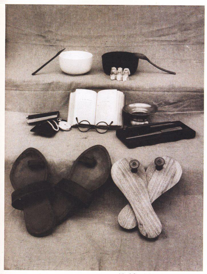 All of Gandhi's worldly possessions photograph from the M.K.Gandhi Institute for Nonviolence