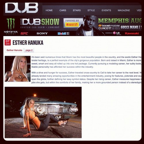 Published article for DUB magazine online in 2007 for Esther Hanuka @therealqueenesther. Pics by Campbell article by Voight Thornton #dub #ipad #intro #model #tattoo #cali #losangeles #la #iphone #car #clouds #curves #canon7d #blonde #shape #live #free #palmtrees #lowrider (Taken with Instagram at My California King)