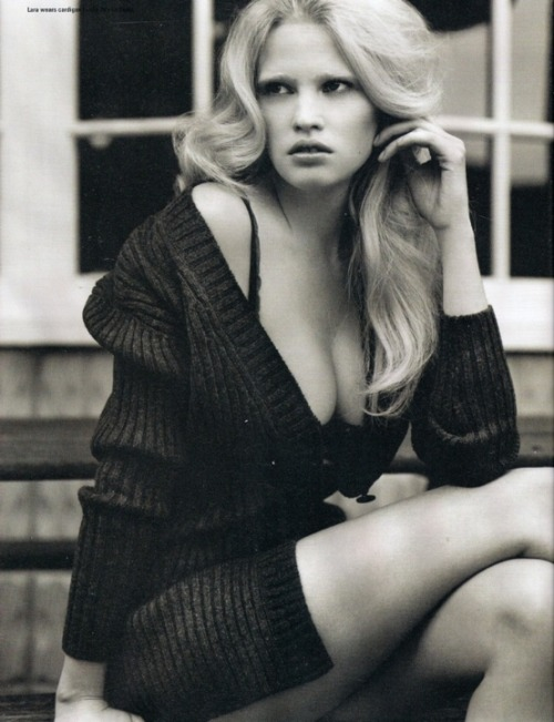 Lara Stone: a big woollen jumper can be extremely sexy