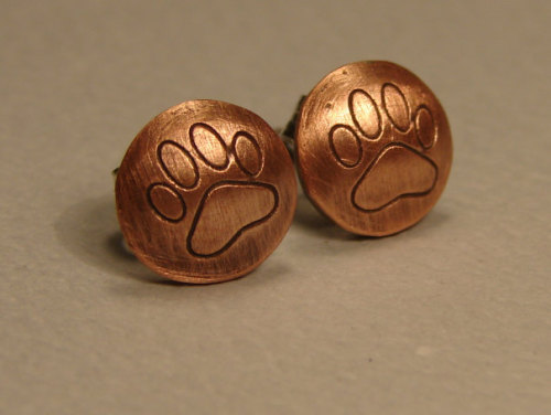 copper paw print earrings