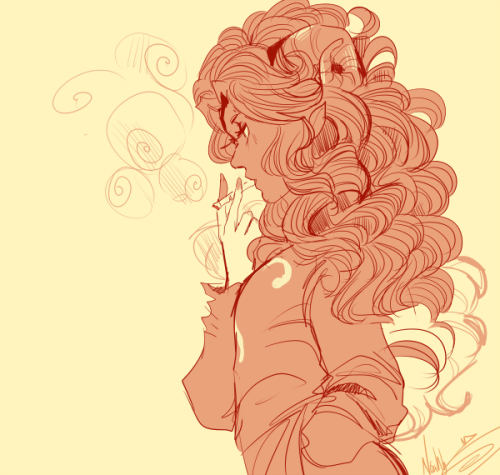 Casualstuck Aradia smoking yup