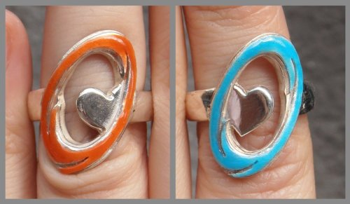 Still Alive Portal engagement rings closeup by *fairyfrog