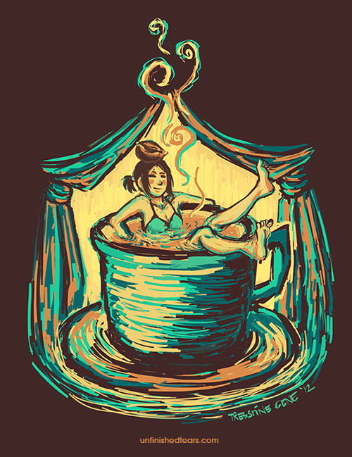 Coffee Bath by ~unfinishedtears Something different from my usual works. I wanted to create something that is impressionistic, something similar to Van Gogh's strokes I don't know if I achieved it here, but oh well I already finished this piece when I found out that the idea has been done a lot of times… *cough* well, this is my version of Coffee Bath. XD Thanks to chromaa for the color scheme!