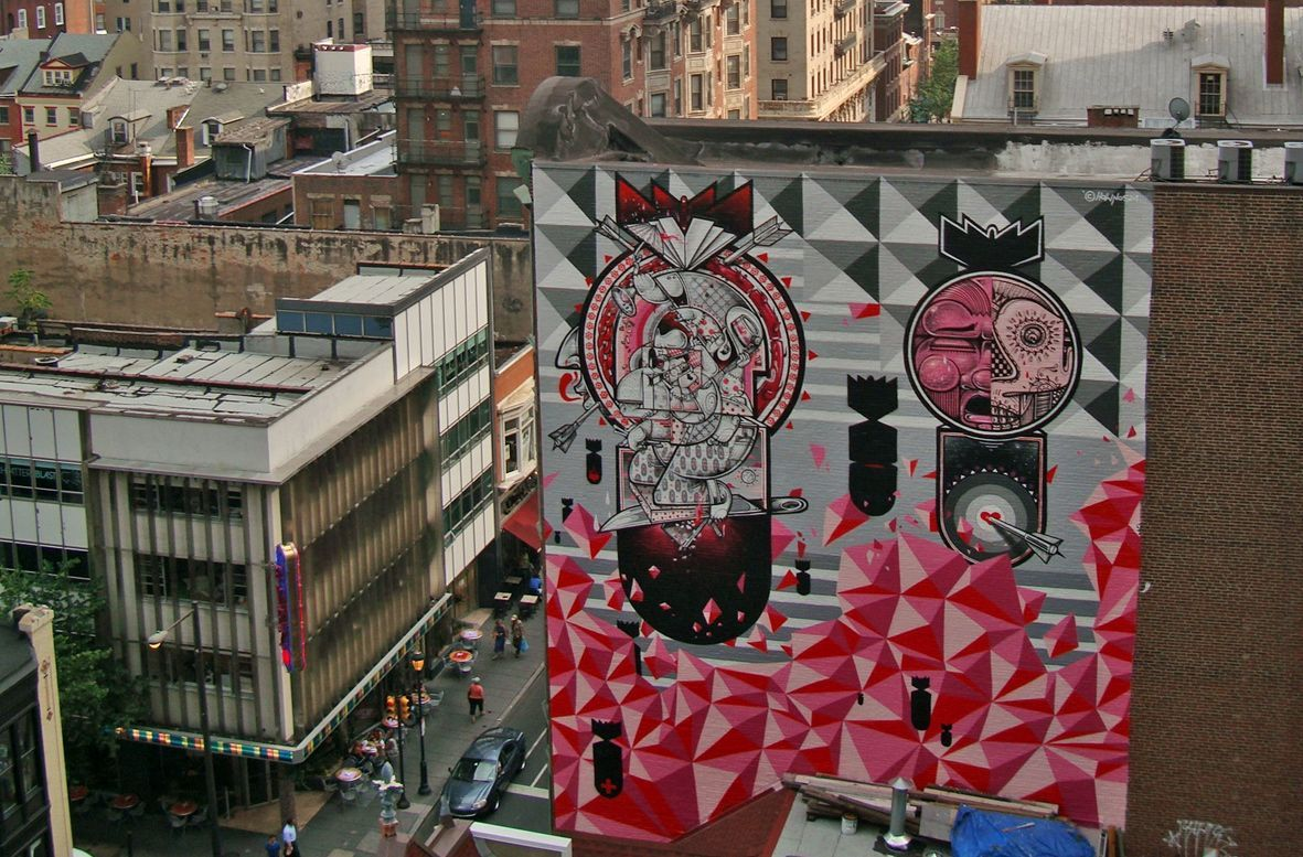 (via Streets: How & Nosm (Philadelphia) « Arrested Motion) New mural by How & Nosm at 13th and Sansom (Philadelphia, PA).
