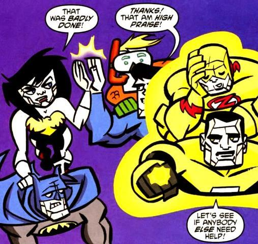 Bizarro Clark and Diana highfive