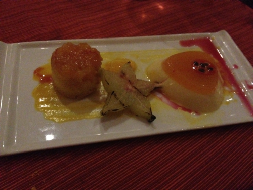 From the same dinner, this is just food porn. It's mango upside down cake on the left, mango panda cotta on the right, and grilled starfruit in between. The pink stuff on the right is hibiscus syrup which looked better before I accidentally knocked my plate with my hand.