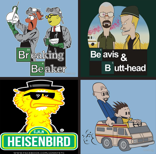 jestcomedy:  You haven't seen all of the great Breaking Bad Fan Art Mashups yet, and there are only a few episodes left this season! Better CLICK THROUGH and catch up.