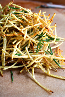 sweetalchemy:  foodopia:  fries with lemon and rosemary: recipe here  Currently craving. Yep.