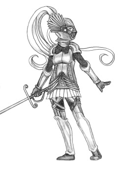 A sneak peak at a character from Book 2, because why not? The Knight never made it into the original comic despite all the drawings of her that I've done, so she's completely new for the book. By the way, I just tweaked my Tumblr settings so people can ask questions and such- I'm still learning how this system works. But now this blog doesn't have to be a completely one-way communication :)