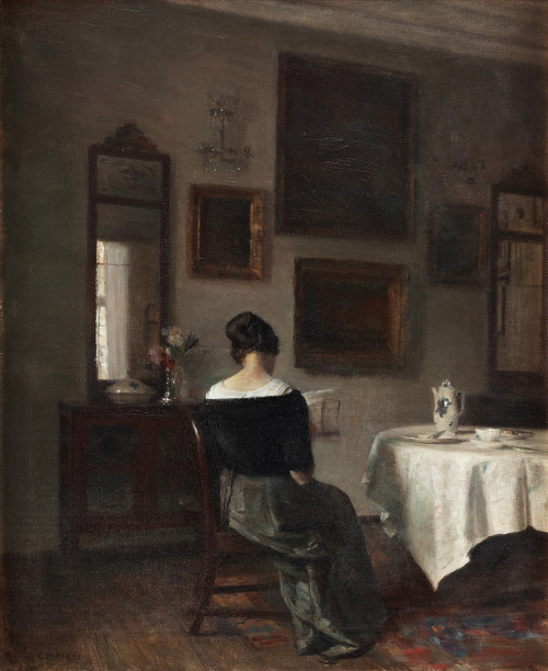 artpedia:  Carl Holsoe - At the Breakfast Table, date unknown. Oil on canvas