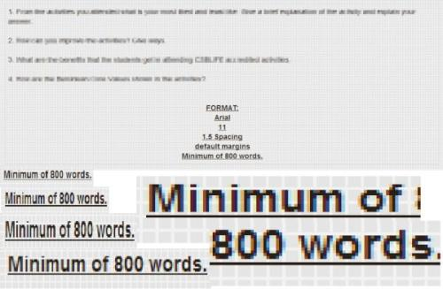 BOOM. 800 words daw oh. Pinahaba ko lang lahat ng abbreviation eh. And gladly, I passed it with 910 words on it with the help of the expanded abbreviations.