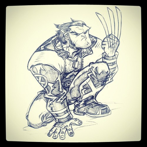 "By Zealand ""Steve"" Jones (zealandjones): ""A wolvie sketch I did while working on TEEN TITANS… (Taken with Instagram)"""