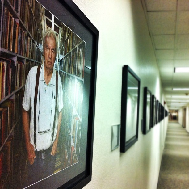 Our hallways double as galleries for some of the best photojournalism and portraiture in the world. Sports, war, natural disasters or simple, touching scenes of life. It's hard not to stop intermittently down the hallways to see what our photographers have hung next. This one's of Western author Larry McMurtry before the recent auction of his famous book collection in Archer City, Texas. (Taken with Instagram at The Dallas Morning News)