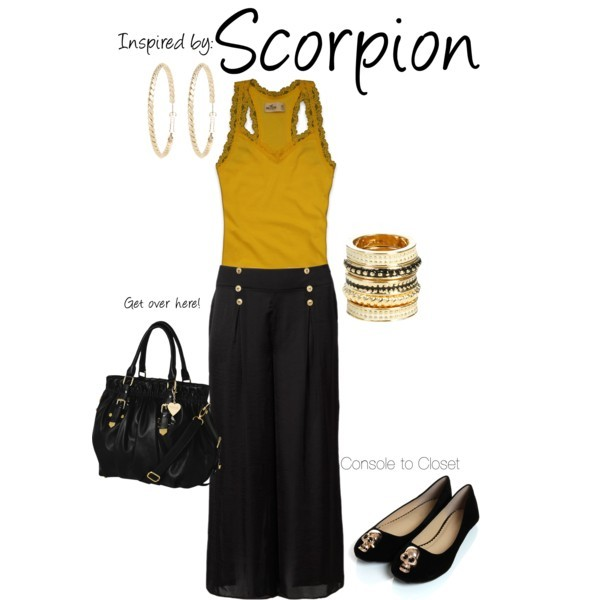Scorpion (Mortal Kombat) by ladysnip3r featuring tote bags This outfit is inspired by Scorpion of Mortal Kombat. I decided to do a work ready version of the killer fighter. I chose black trousers with a dark yellow tank top that mimic his color palette. I also chose rope earrings and bangles that give the same look as his weapon. Lastly, I chose flats with a skull decoration on them. (Reference Image) Hollister Co. cotton tank top / Palazzo pants, $55 / Fallon gold flat / Marc B tote bag, $74 / Wet Seal stackable ring / Forever New hoop earrings, $14