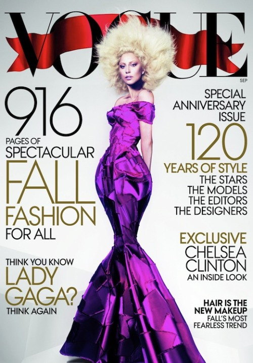 Lady Gaga is on the September cover of Vogue. While the styling of this cover is pretty much what I would expect for Gaga (the platinum afro, the gown with a highly exaggerated shape,) I really wasn't expecting a full body shot. The silhouette is especially striking thanks to the dramatic Marc Jacobs dress. I think this cover is appropriately different from the average Vogue cover for a special anniversary (and September) issue — but I like that it's still easily recognizable as Vogue and fits Gaga.  This is Lady Gaga's second time on the cover of Vogue. Last year, she covered the March Power issue (which infamously included a profile of Asma al-Assad.) For me, this cover is a vast improvement as I hated the cotton candy Louise Brooks wig on the last issue.  Image via Vogue.