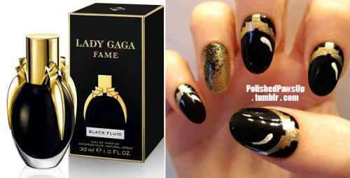 "polishedpawsup:  FAME Eau de Parfum: Here they are! My first design for the FAME fragrance!  Gaga knows the way to my heart using black and gold, so these were a must-do.  This design is based primarily on the bottle and packaging, but it can also relate to the print ads, as well as the commercial (I will likely do another design based souly on the film, once the full clip is released!) Colors & Materials Used: Black base with Golden-I (Sally Hansen Xtreme Wear) details and accent bed.  I sponged black abstractly over the gold on the accent to bring in the black colored mist aspect of the fragrance.  Added white ""shine"" marks to give the bottle shapes a more rounded appearance.  I can't wait to make a bottle-in-hand post soon!  X PPU"
