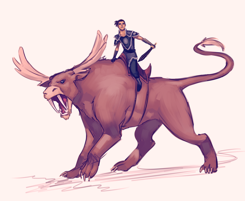 Sokka and his Moose lion!  Commission for sunwukung22 on DA.