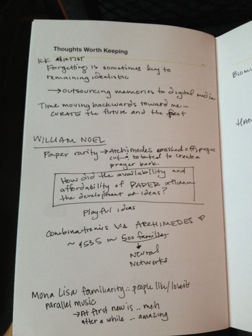 Notes from TEDxSummit in Doha, Qatar.  Thinking about how the availability of paper has impacted our ability to jot down scratch ideas and even to think more freely (or at least less expensively).
