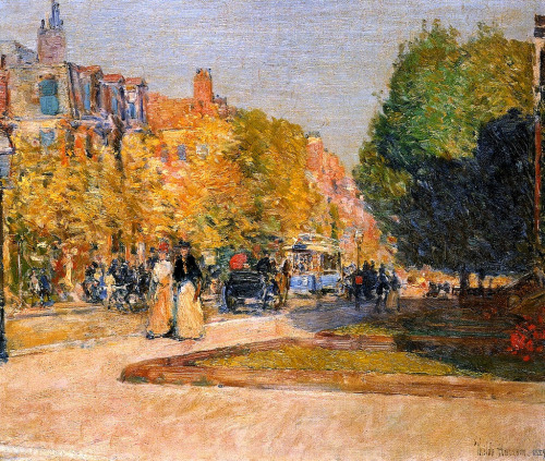 alongtimealone:  Marlborough Street, Boston Frederick Childe Hassam - 1889 (by BoFransson)
