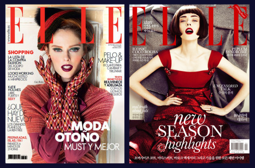 ELLE SPAIN vs. ELLE KOREA - September, 2012 Here are two more new covers for September, 2012. I guess it's safe to assume that red is a definite fall trend this year! For Elle Spain I actually shot the entire magazine - all four editorials! It's me, me, me, and a side of me, which I guess is good news if you like my work, VERY bad news if you don't. They are all completely different though and I can't wait to show them to you soon! xxCoco
