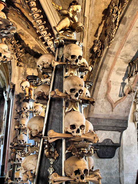aconglomerateofthought:  Kostnice (Church of Bones), Kutna Hora, Sedlec Ossuary 1 by saxonfenken on Flickr.