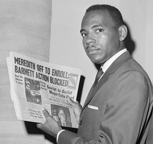 historicalmatters:  August 18, 1963:  James Meredith, the first African American to attend the University of Mississippi graduates.