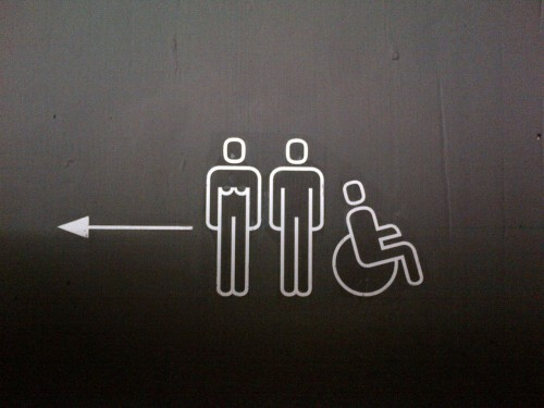 The lady has very broad shoulders…and what sex is the wheelchair person?