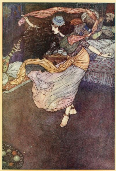 Stories from the Arabian Nights, 1911Illustrations by Edmund DulacShe drew out the dagger and, holding it in her hand danced a dance which excelled all that had preceded it …