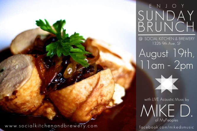 "Get your SUNDAY BRUNCH on at Social Kitchen & Brewery 1326 9th Ave. while I jam some new tunes. Aug. 19th, 11am-2pm  Unwind at the Social Kitchen & Brewery, the Inner Sunset's New Gourmet Brewery by Laure Latham  The Inner Sunset now possesses a solid craft brewery on 9th Avenue where parents can chill out with a glass of L'Enfant Terrible while kids enjoy tempura sweet potato fries served in a miniature bucket. A newcomer on the San Francisco gourmet brewpub scene, Social Kitchen & Brewery aims at bringing food-friendly beer to the local community. Across from Arizmendi Bakery and steps from the Inner Sunset Farmers Market, the brewery serves Belgian- and German-style beers crafted on spot, some of which even appear on the food menu as ingredients.  Since the N-Judah MUNI line stops at the corner of the block, Social Kitchen is a great choice for a car-less lunch or dinner, (or cut through Golden Gate Park and reach the brewery by foot or stroller). The restaurant's facade is discreet, but once you're inside, the big open space with large windows, long wooden bar and mezzanine is an inviting place to sit. Early in the evening, you can even navigate a stroller without problem, and in a nice nod to beer-loving parents, there's a changing table in the women's room. While the modern décor can seem somewhat sterile, the fact that there are no blaring TVs on the walls makes it easier to focus on the food, beer, and each other.  As far as food goes, local and seasonal governs the menu. The menu for the ""young at heart"" includes kid faves like peanut butter and jelly sandwiches, burgers, and small side dishes. Your little ones' sweet tooth will be rewarded the dessert menu if they dare to go bold with the sarsparilla crème brûlée with almond and Earl Grey tea cookies or the warm Liège waffle.  Note: This isn't fast food, so order an appetizer and a beer and let the kids color while you're waiting for the main dish.  Social Kitchen & Brewery, 1326 9th Ave. S.F., Main: 415-681-0330, Brewery: 415-571-8987"