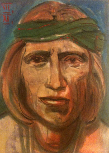 a Zuni Indian (after Edward Curtis), watercolor 36x48cm, August 2012 @_blacha_ on Flickr.for: http://afteramotive.blogspot.de/