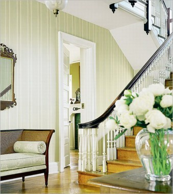 Formal foyer spiced up with a more contemporary color pallet on the staircase.  Follow CollegeGuyDesign if you like things like this showing up on your dash!