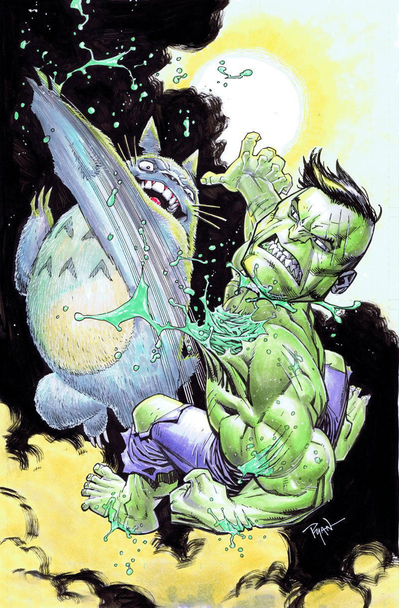 Hulk VS Totoro by Ryan Ottley Artist website