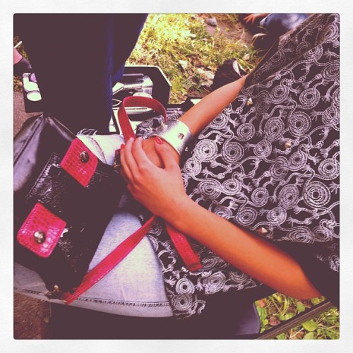 #Leather #tee & # Chameleon #bag - Manitic bakcstage (Taken with Instagram)