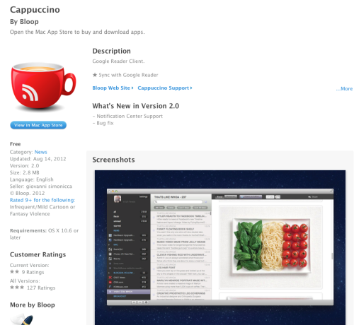 Capuccino is an RSS/Google Reader client for the Mac.