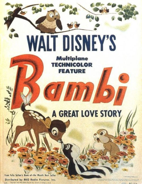 "Title: Bambi Number: Two Hundred and Sixteen Directers: David Hand, James Algar, Samuel Armstrong, Graham Heid, Bill Roberts, Paul Satterfield, Norman Wright Writers: Perce Pearce, Larry Morey, Vernon Stallings, Melvin Shaw, Carl Fallberg, Chuck Couch, Ralph Wright Genre: Animation. Released: 1942. Seen on: DVD. Seen Before: Several times when I was younger. Starring: Bobby Stuart, Donnie Dunagan, Hardie Albright, John Sutherland, Paula Winslowe, Peter Behn, Sam Edwards,  Running Time: 70 minutes. Favorite Performance: Paula Winslow as Bambie's Mother Favorite Moment: Not my favorite, but the best, is the infamous scene where Bambi's Mum dies. Just a brilliantly emotional moment. Favorite Line: ""Man was in the forest."" About to get serious. Thoughts: I was kind of surprised when watching this film, I hadn't watched it for over a decade and presumed it was mostly events in the life of a fawn. Instead, it turned out to be more than that. It was the life story of a fawn, growing into an adult deer, and  the education of life. At the beginning, everything is wondrous, and surprising, with all babies feeling protected. As Bambi grows up, his sheltered world is attacked by the evils of Man, and in this, he is forced to grow up to survive. The beauty of the summer scenes and gentleness of Bambi and his mother really contrast with the harsh, darkness of winter and death. The comforting nature in the summer creates a happy atmosphere, a cheerful demeanor that calms the audience and makes them smile, which therefore makes the sudden horrors that occur more impactful. The only problem with this, is the mood whiplash that sometimes occurs. For instance, after the very harrowing death scene midway through, which probably caused most children to cry buckets of tears, we suddenly have a shot of a water stream with birds chirping happily. It may be uncomfortable for certain audiences. The film is also slightly reminiscent of 'Wall-E', in that not much dialogue occurs, maybe 1000 words over 70 minutes, which actually isn't that much. It means a lot of time is dedicated to tension building and beautiful animation. If you enjoyed 'Wall-E', or any Disney movies, you will probably enjoy this Disney classic. Thumbs Up, 7 out of 10"