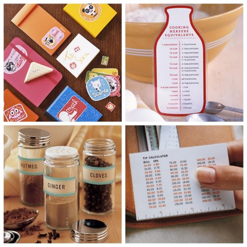 DIY Roundup of Twenty Clip Art Organizational Printables from Martha Stewart here. First seen at Craftzine here. Below are just few of the free printables in the roundup: Illustrated Phone List Birthday Chart Wallet Crib Sheet with mini ruler in inches and cm, 18% Tip Calculator, Birthday Birthstones, calculations for capacity, weight and length Spice Labels - Round and Rectangular Corny Retro Notebook Stickers Recipe Cards Freezer Labels